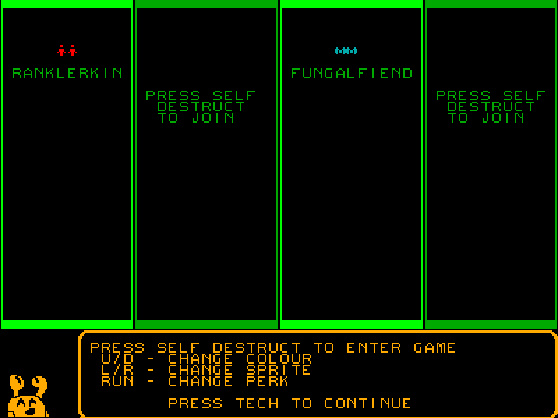 Quarries of Scred 2 screenshot showing Crabbens commentating the player selection screen