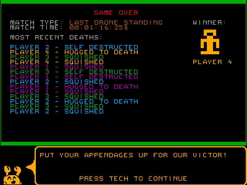 Last Drone Standing score screen in Quarries of Scred 2