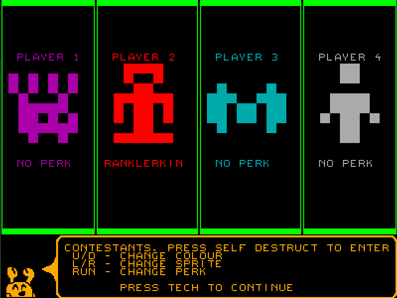 Revised player select screen in Quarries of Scred 2