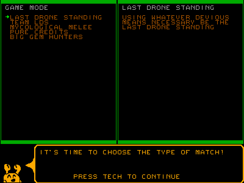 Revised mode select screen in Quarries of Scred 2