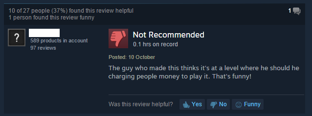 Image of review from Steam page of Quarries of Scred 1